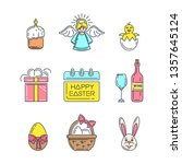 set of color icons for easter.... | Shutterstock .eps vector #1357645124