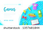 games online store landing page ... | Shutterstock .eps vector #1357681844