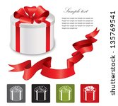 gift box with red ribbons bow.... | Shutterstock .eps vector #135769541