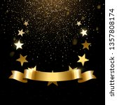 realistic gold star emblem with ... | Shutterstock .eps vector #1357808174