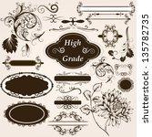 vector set of calligraphic... | Shutterstock .eps vector #135782735