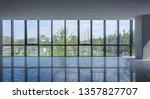 empty spacious room with big... | Shutterstock . vector #1357827707