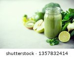 glass jar mugs with green... | Shutterstock . vector #1357832414