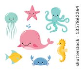 Cute Baby Sea Fishes. Vector...