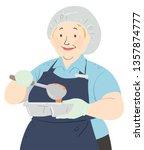 illustration of a senior woman...   Shutterstock .eps vector #1357874777