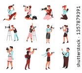 photo camera and photographers... | Shutterstock .eps vector #1357879391