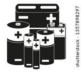 black and white battery set.... | Shutterstock .eps vector #1357898297