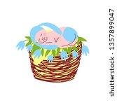 adorable newborn baby in light... | Shutterstock .eps vector #1357899047