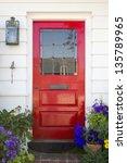 red front door of an upscale... | Shutterstock . vector #135789965