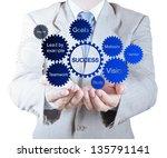 businessman hand shows gear... | Shutterstock . vector #135791141