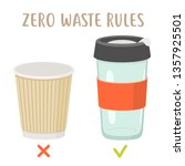 zero waste rules   disposable... | Shutterstock .eps vector #1357925501
