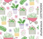 gardening seamless pattern with ... | Shutterstock .eps vector #1357934504