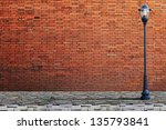 Lamp Post Street On Brick Wall...