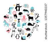 hand drawn cartoon animals and...   Shutterstock .eps vector #1357940237