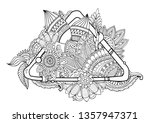 adult colouring book page with... | Shutterstock .eps vector #1357947371