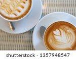 hot caramel macchiato and latte ... | Shutterstock . vector #1357948547