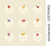 Set Of Fruit Colorful Stickers