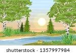 river bank with grass  birch... | Shutterstock .eps vector #1357997984