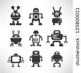 robot icon set | Shutterstock .eps vector #135800021