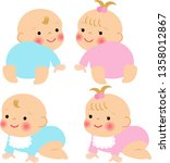 crawling cute baby | Shutterstock .eps vector #1358012867