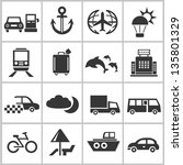 holiday and travel icons set - stock vector