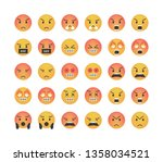 big set of angry emoticon...   Shutterstock .eps vector #1358034521