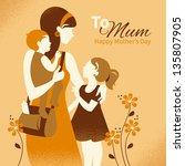 beautiful mother silhouette...   Shutterstock .eps vector #135807905