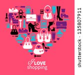 Shopping love heart with set of vector fashion women's icons   Shutterstock vector #135807911