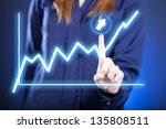 woman's hand and growing graph...   Shutterstock . vector #135808511