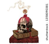 magic books  skull and wax... | Shutterstock .eps vector #1358090381