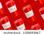 red pattern coffee cup mockup... | Shutterstock .eps vector #1358093867