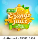 fresh orange juice splash logo... | Shutterstock .eps vector #1358118584