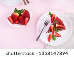 red velvet cake on a pink... | Shutterstock . vector #1358147894
