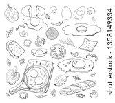 scrambled eggs and vegetables... | Shutterstock .eps vector #1358149334