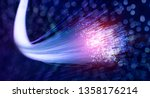 Fiber optics network cable lights abstract background - stock photo