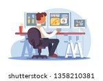 stock trader sitting at... | Shutterstock .eps vector #1358210381