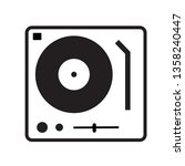 disk jockey turntable icon on...