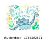 cute dinosaur color hand drawn...   Shutterstock .eps vector #1358252531