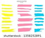 set vector highlighter. hand... | Shutterstock .eps vector #1358252891