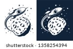 rocket in space flies around... | Shutterstock .eps vector #1358254394