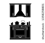 silhouette of the kitchen.... | Shutterstock .eps vector #1358258801