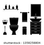 silhouette of the restroom with ... | Shutterstock .eps vector #1358258804