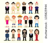 set of different pixel people ... | Shutterstock .eps vector #135825944