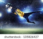 goalkeeper catches the ball .... | Shutterstock . vector #135826427