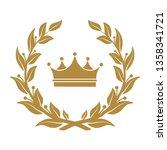 heraldic symbol crown in laurel ...   Shutterstock . vector #1358341721