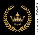 heraldic symbol crown in laurel ...   Shutterstock . vector #1358341724