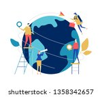 global business   flat design... | Shutterstock . vector #1358342657