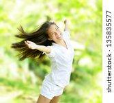 rejoicing happy woman in flying ... | Shutterstock . vector #135835577