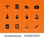 hospital icons on orange... | Shutterstock .eps vector #135837425