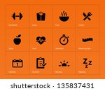 fitness icons on orange... | Shutterstock .eps vector #135837431